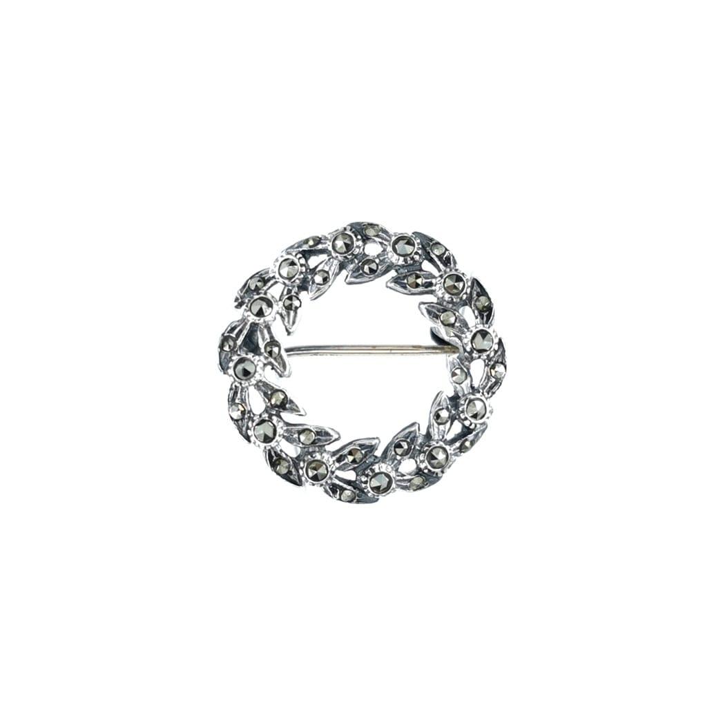 Alfinete Coroa Marcassites em Prata
