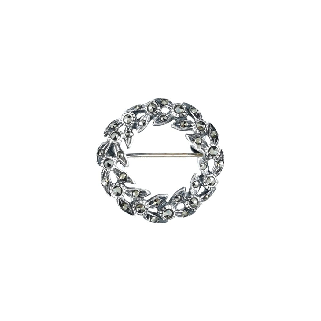 Brooch Crown Marcasites in Silver