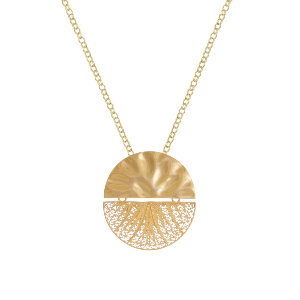 Necklace Circles Articulated XL in Gold Plated Silver
