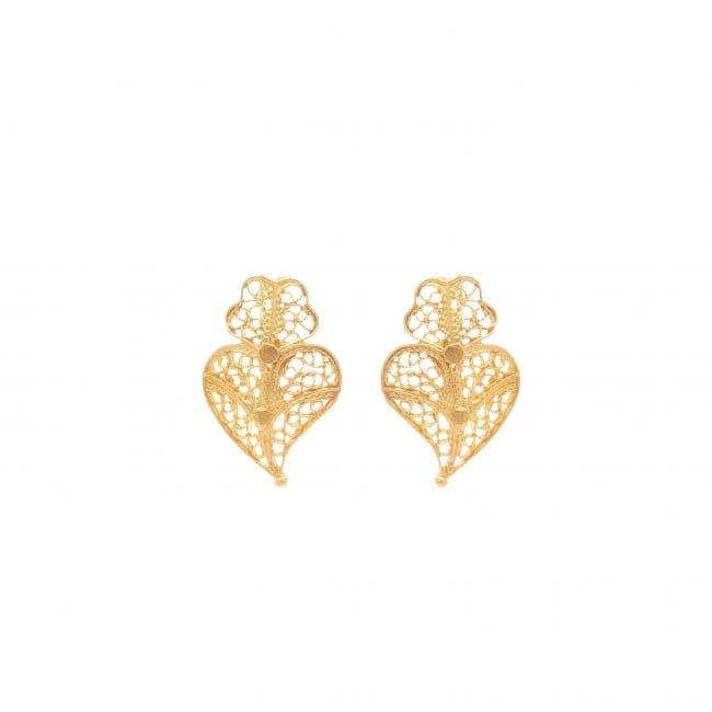 Brincos Coração de Viana XS em Ouro 9Kt