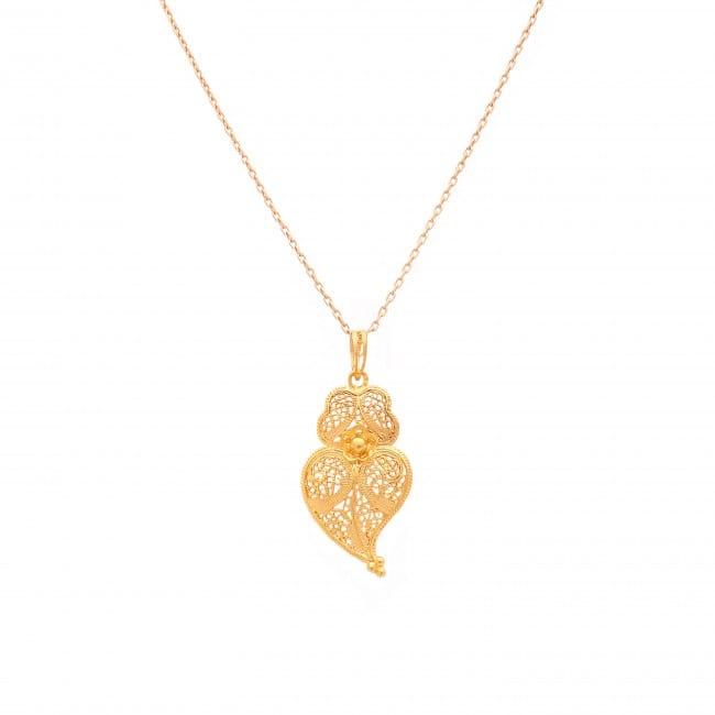 Colar Coração de Viana M em ouro 9Kt