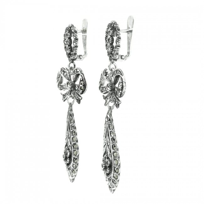 King Earrings Marcasites in Silver