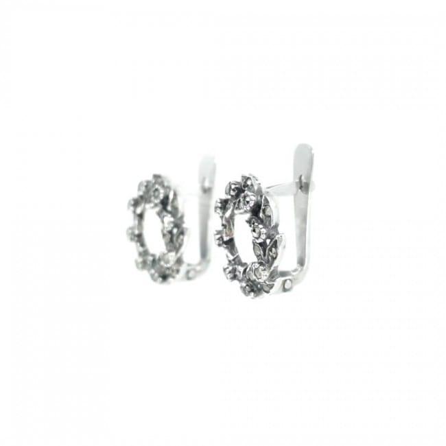 Brincos Coroa Marcassites em Prata