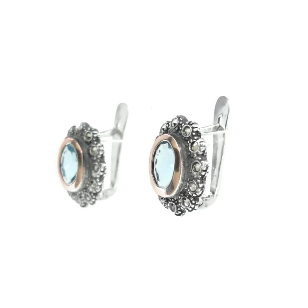 Earrings Aquamarine Marcasites in Silver and Gold