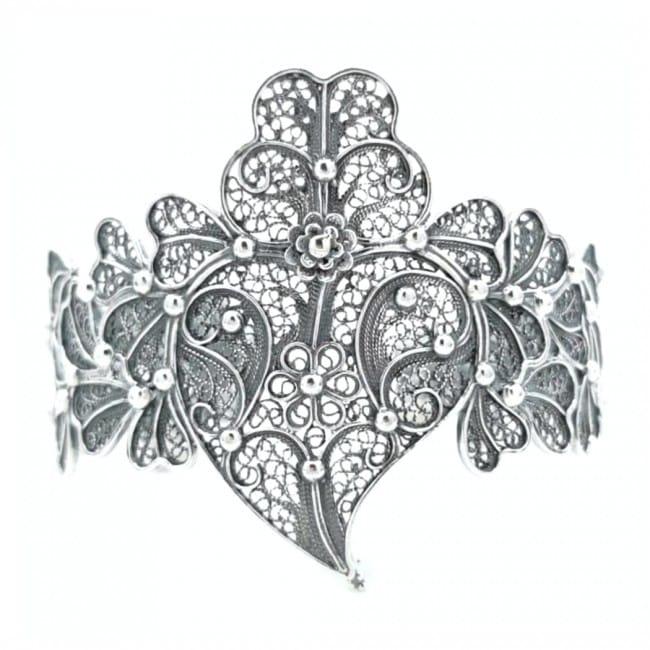 Pulseira Coração de Viana XL em Prata