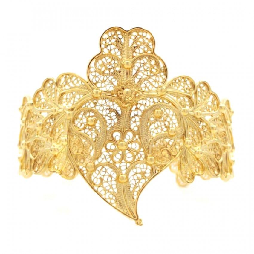 Pulseira Coração de Viana XL em Prata Dourada
