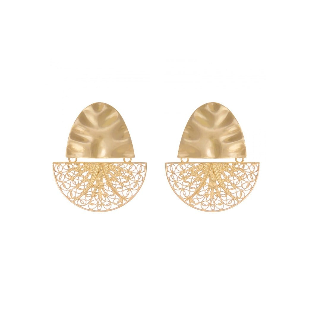 Earrings Boat Articulated in Gold Plated Silver