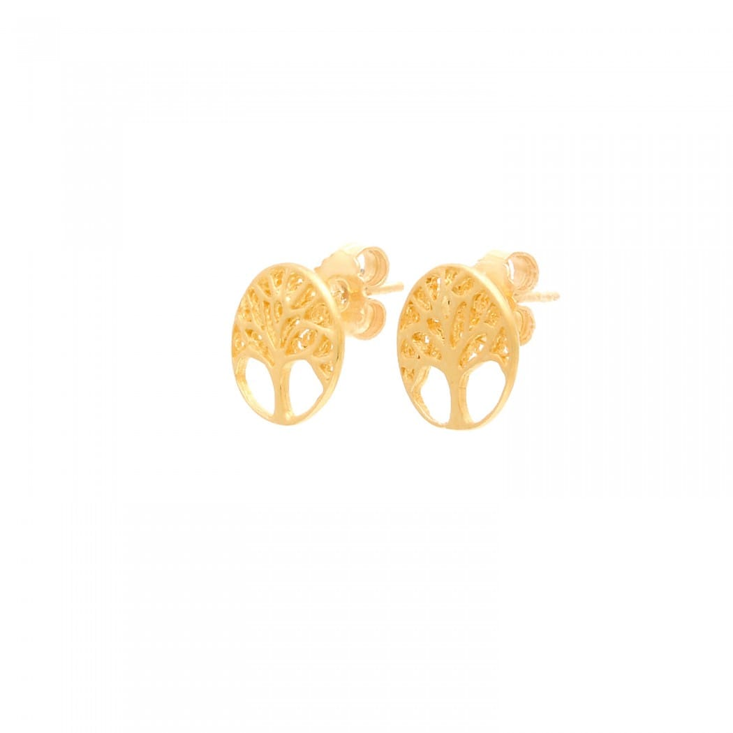 Earrings Tree of Life in Gold Plated Silver