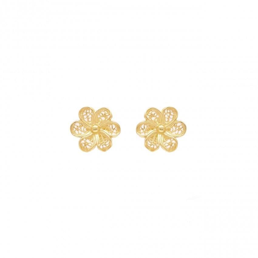 Earrings Flower in 19,2Kt Gold