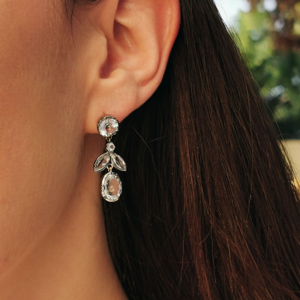 Earrings Leaves Rock Crystal in Silver and Gold