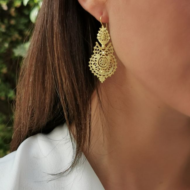 Brincos Rainha em Ouro 19,2Kt e Diamantes