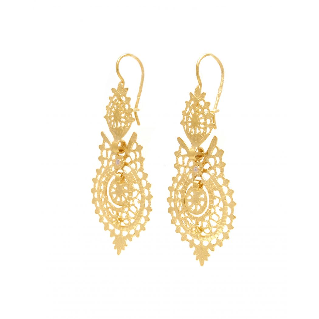 Queen Earrings in 19,2Kt Gold and Diamonds