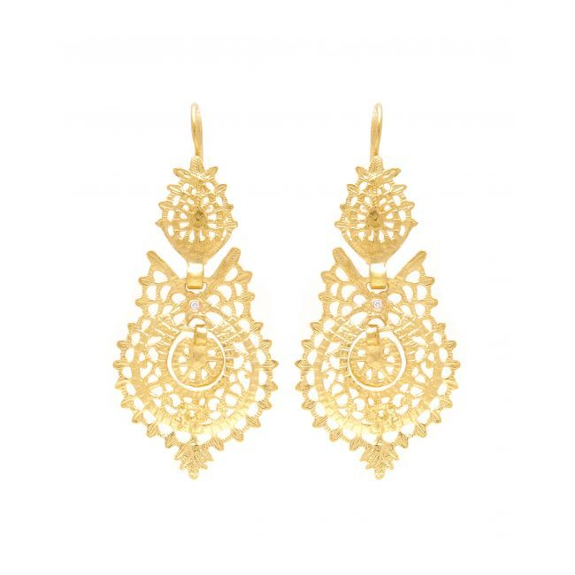 Earrings Queen in 19,2Kt Gold and Diamonds