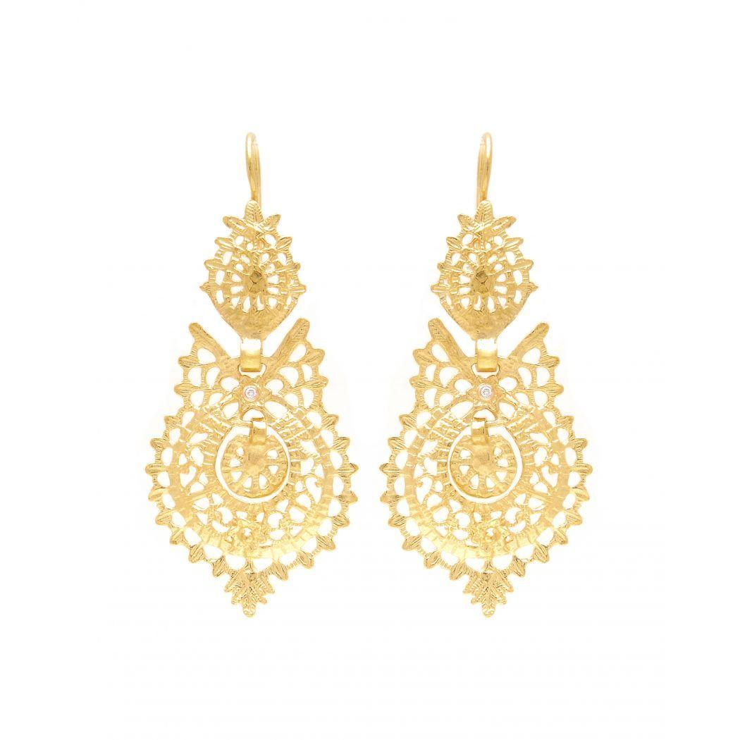 Earrings Queen in 19,2Kt Gold and Diamonds