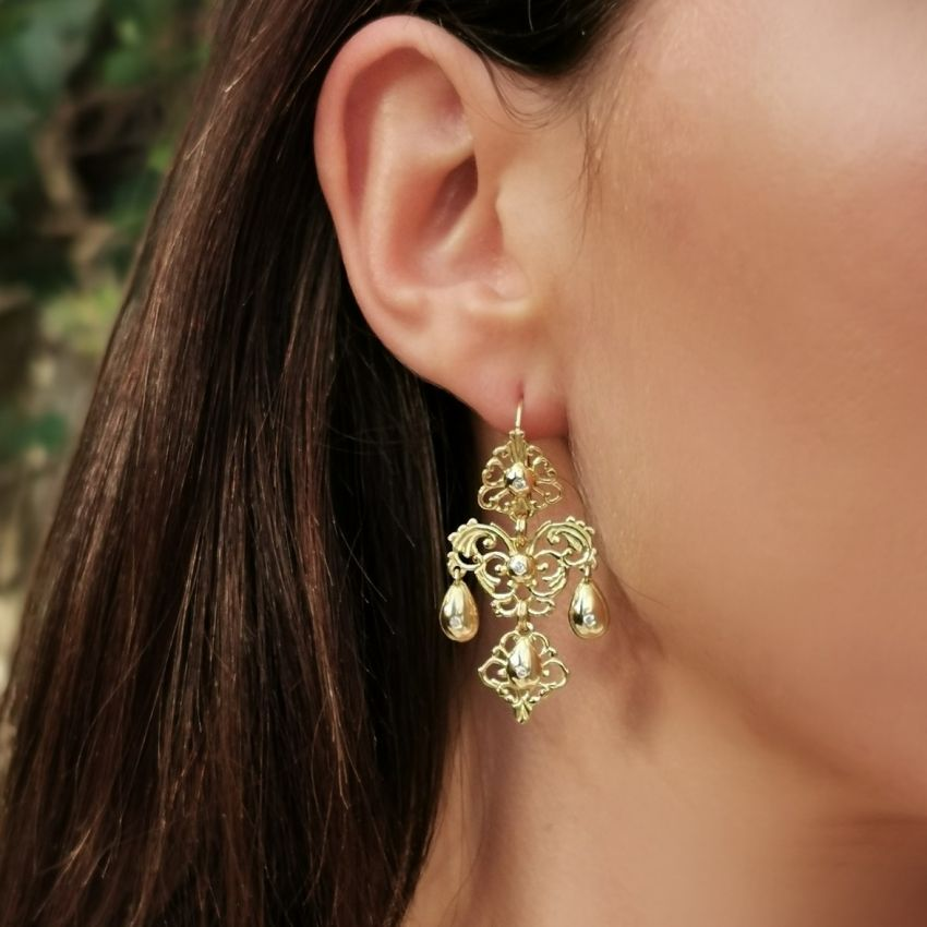Earrings Sequilé in 19,2Kt Gold and Diamonds