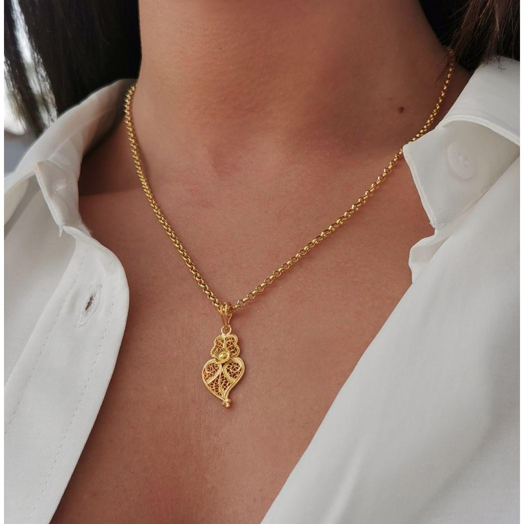 Colar Coração de Viana 2,5cm em Prata Dourada