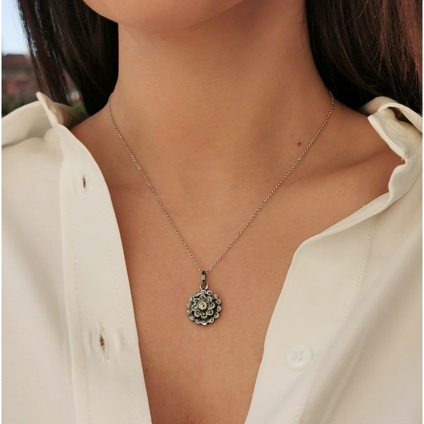 Necklace Pinecone with Marcasites in Silver