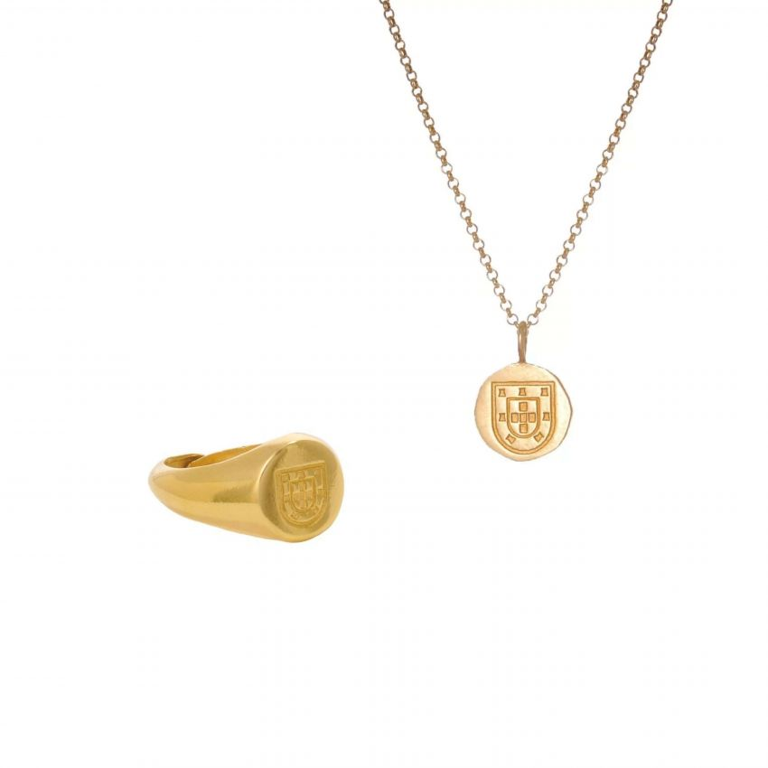 Set Men Escudo in Gold Plated Silver