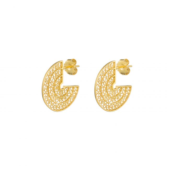 Conjunto Circulos em Prata Dourada