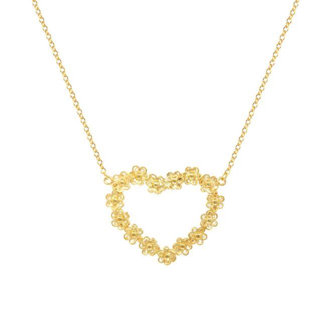 Colar Coração de Flores em Prata Dourada