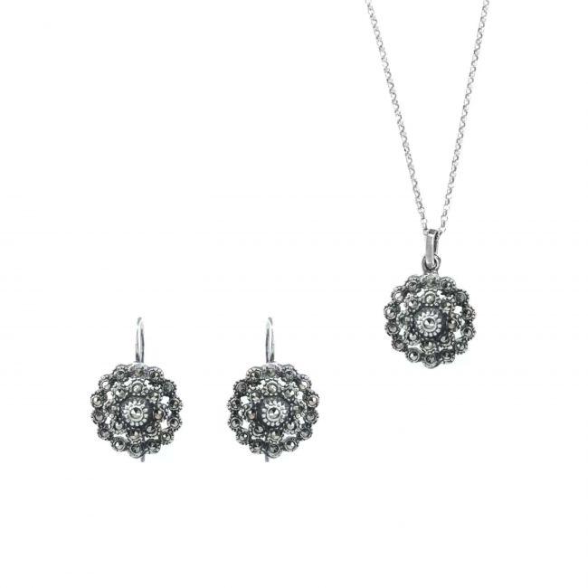 Conjunto Pinha Marcassites em Prata