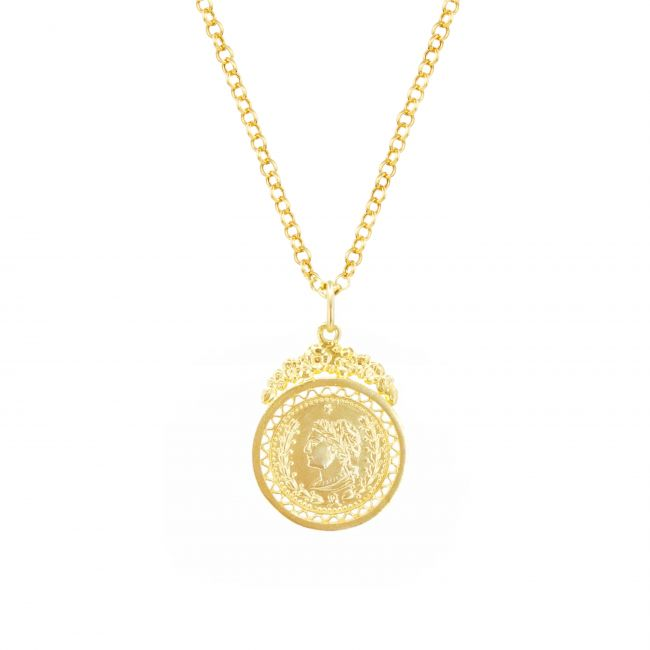 Necklace Coin in Gold Plated Silver