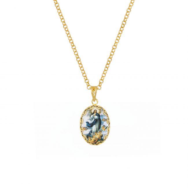 Colar Nossa Senhora da Conceição em Prata Dourada