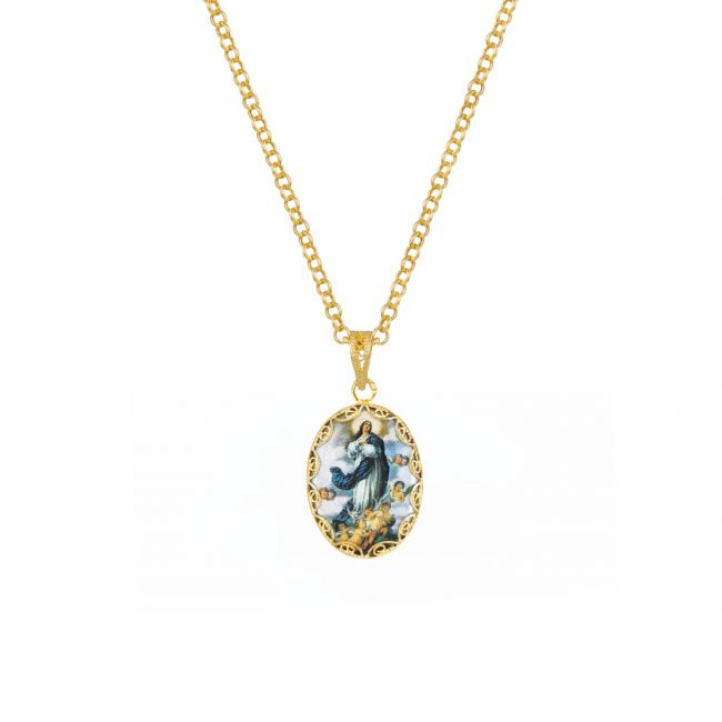 Necklace Our Lady of Conception in Gold Plated Silver
