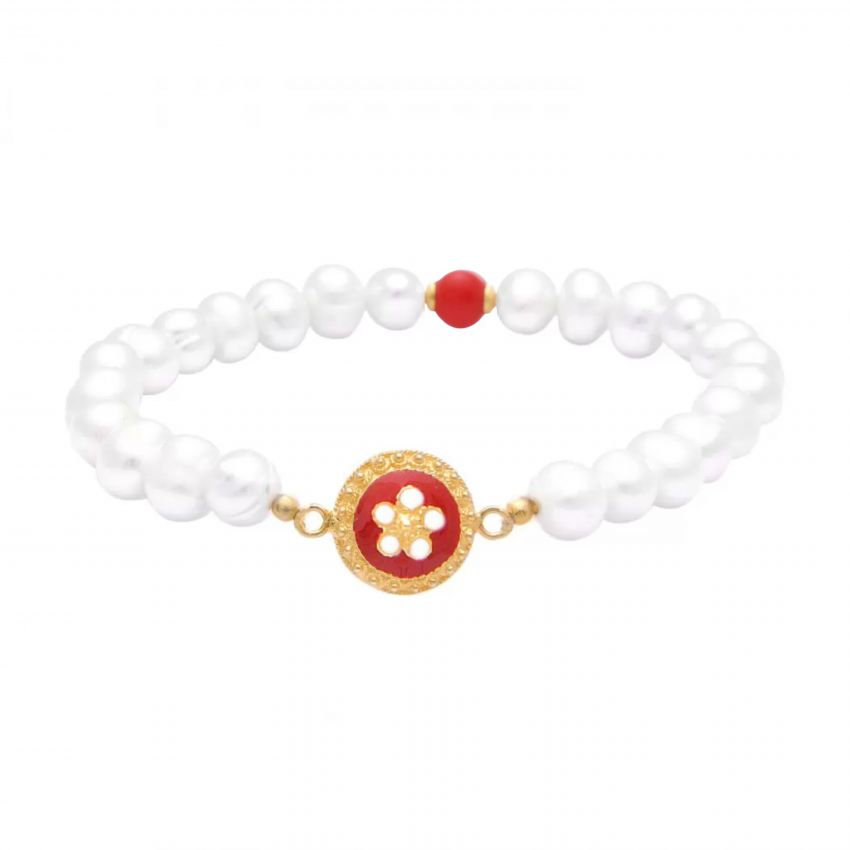 Bracelet red Caramujo in Gold Plated Silver and pearls