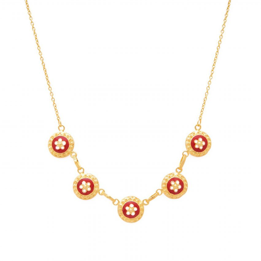 Necklace Red Caramujos in Gold Plated Silver