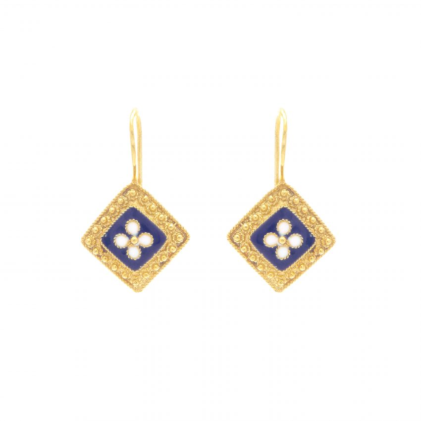 Earrings Rhomb Caramujo in Gold Plated Silver