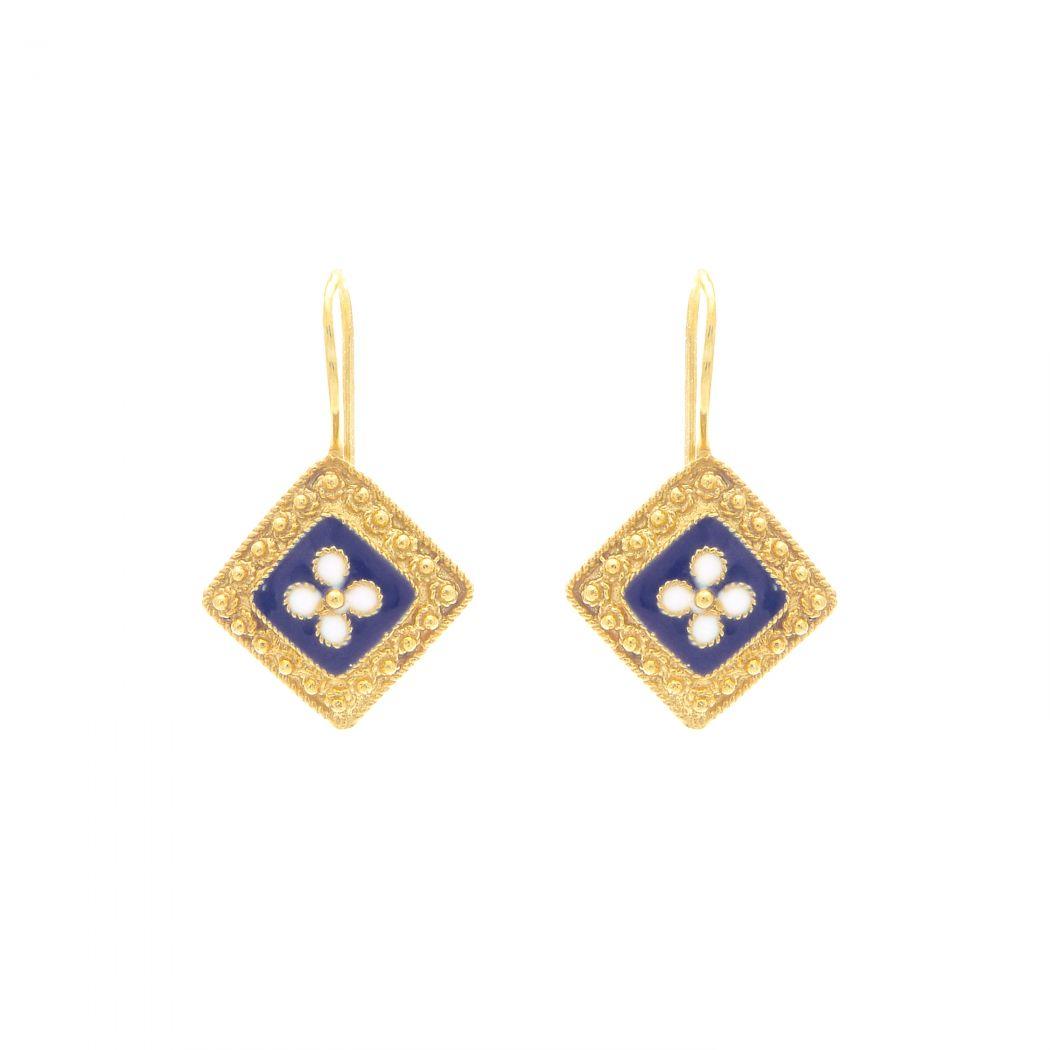 Earrings Rhomb Caramujo in Gold Plated Silver