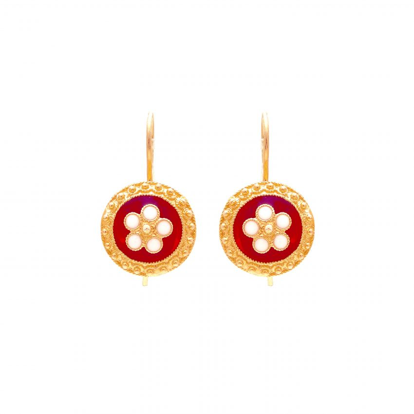 Earrings Red Caramujo in Gold Plated Silver