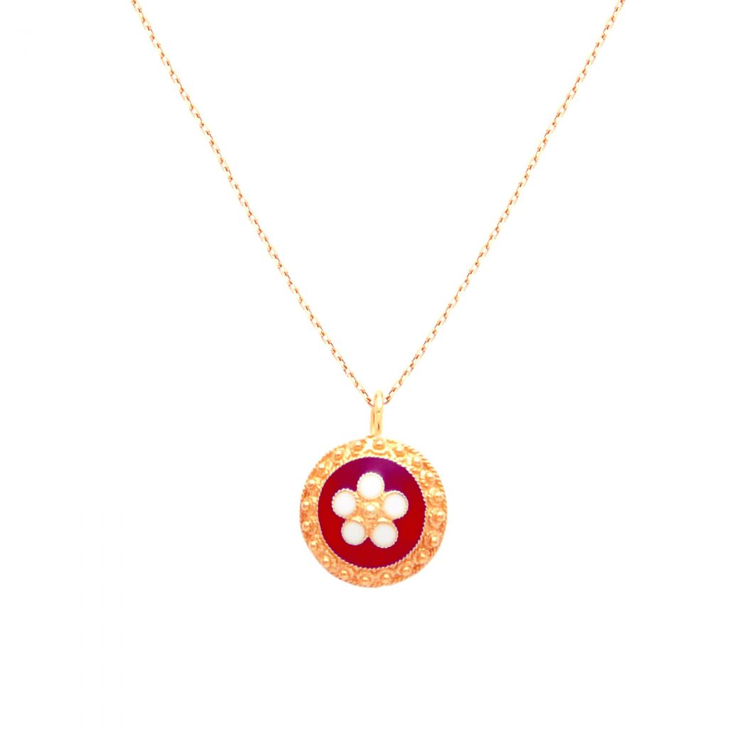 Necklace Red Caramujo in Gold Plated Silver