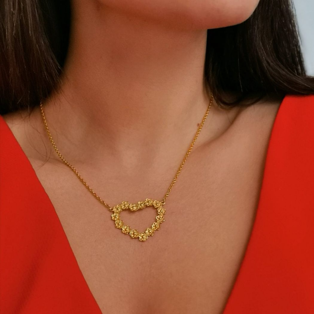 Necklace Heart of Flowers in Gold Plated Silver