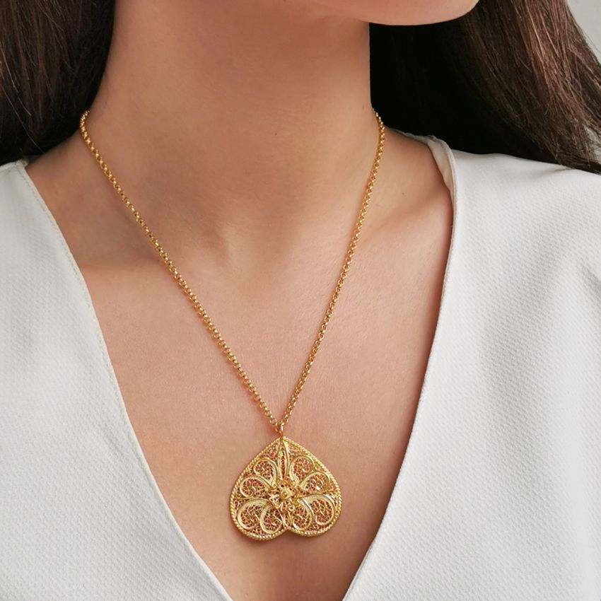 Necklace Butterfly Filigree in Gold Plated Silver