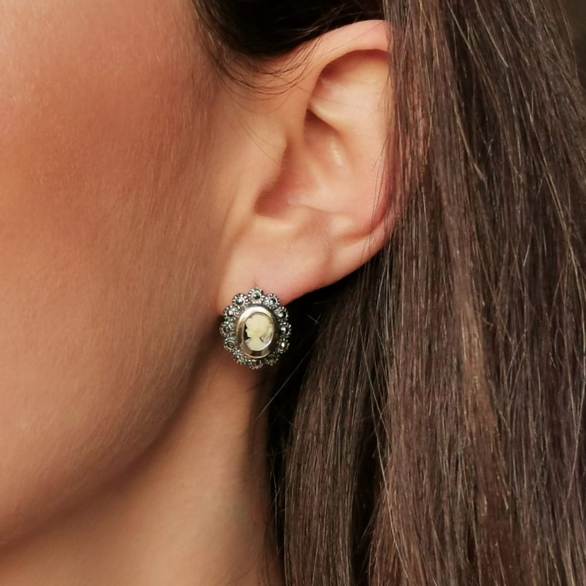 Earrings Camafeu with Marcasites in Silver and Gold