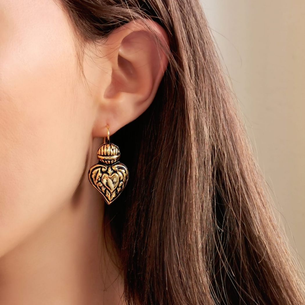 Earrings Baroque Heart of Viana in Gold Plated Silver