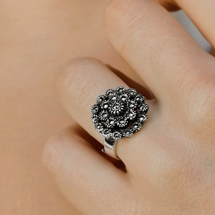 Ring Pinecone Marcasites in Silver