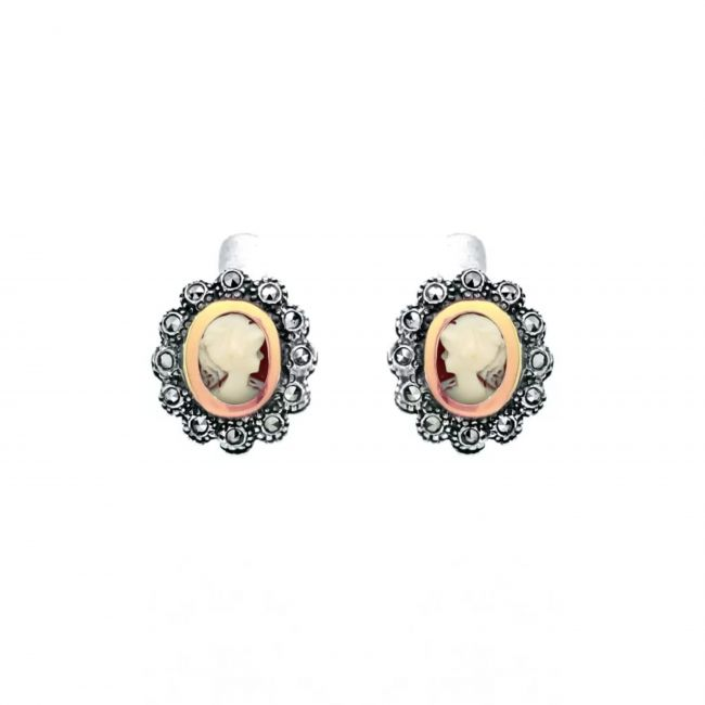 Earrings Camafeu Marcasites in Silver and Gold