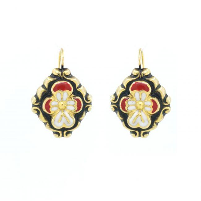 Earrings Baroque Red Enamel in Gold Plated Silver