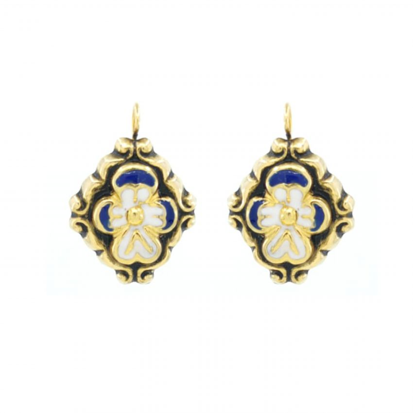 Earrings Baroque Blue Enamel in Gold Plated Silver