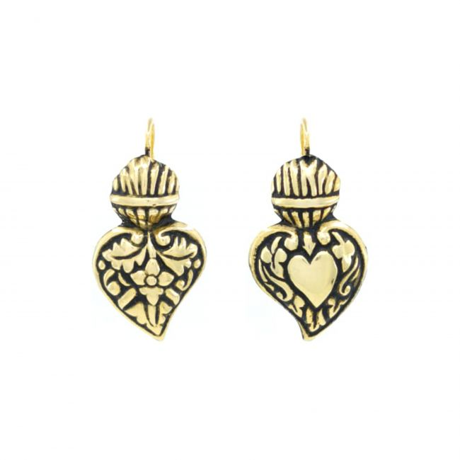Brincos Coração de Viana Barroco em Prata Dourada