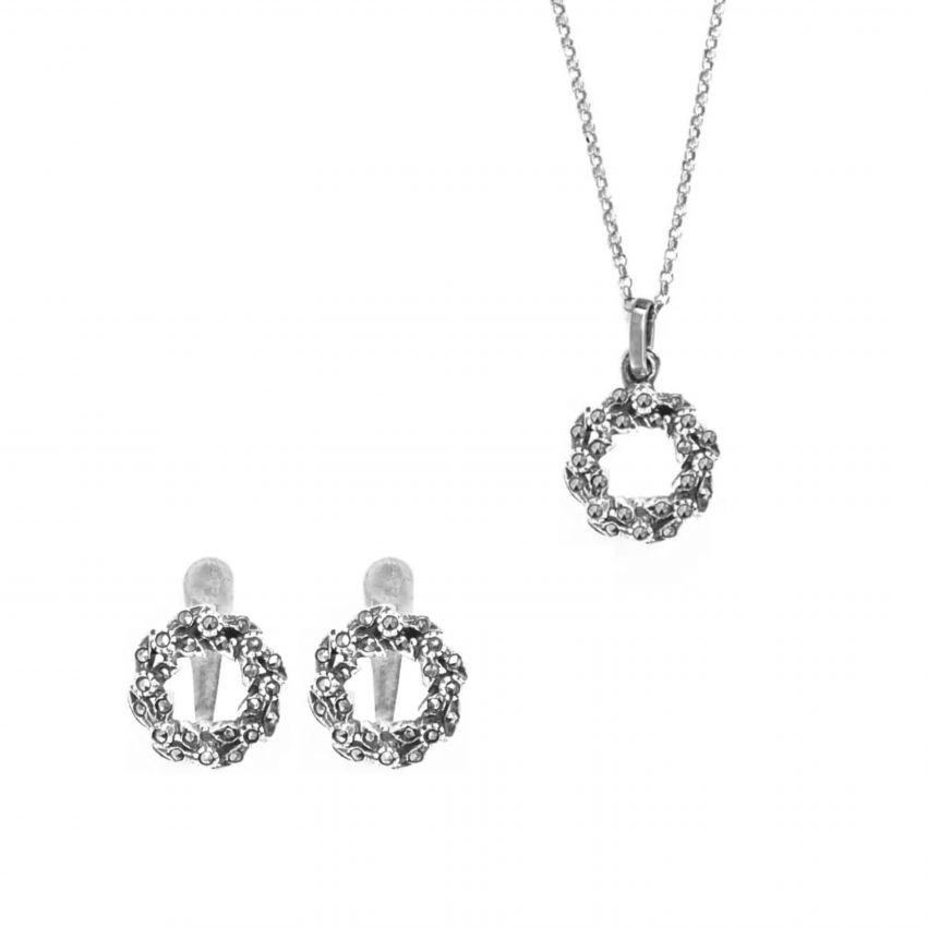 Conjunto Coroa Marcassites em prata