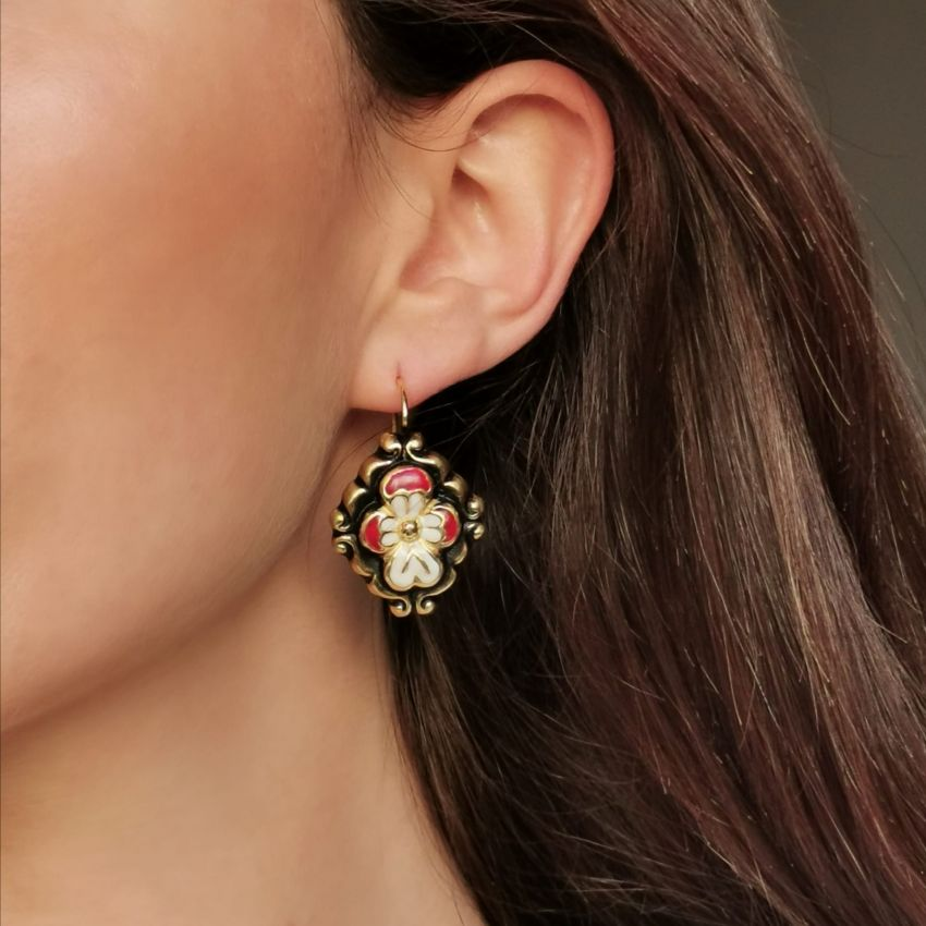 Earrings Baroque Red Enamel in Gold Plated Silver