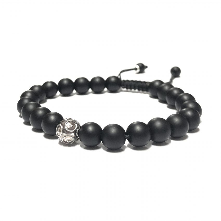 Bracelet Father's Day in Silver and Onyx