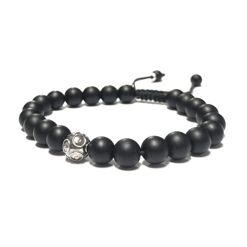 Bracelet Conta in Silver and Onyx