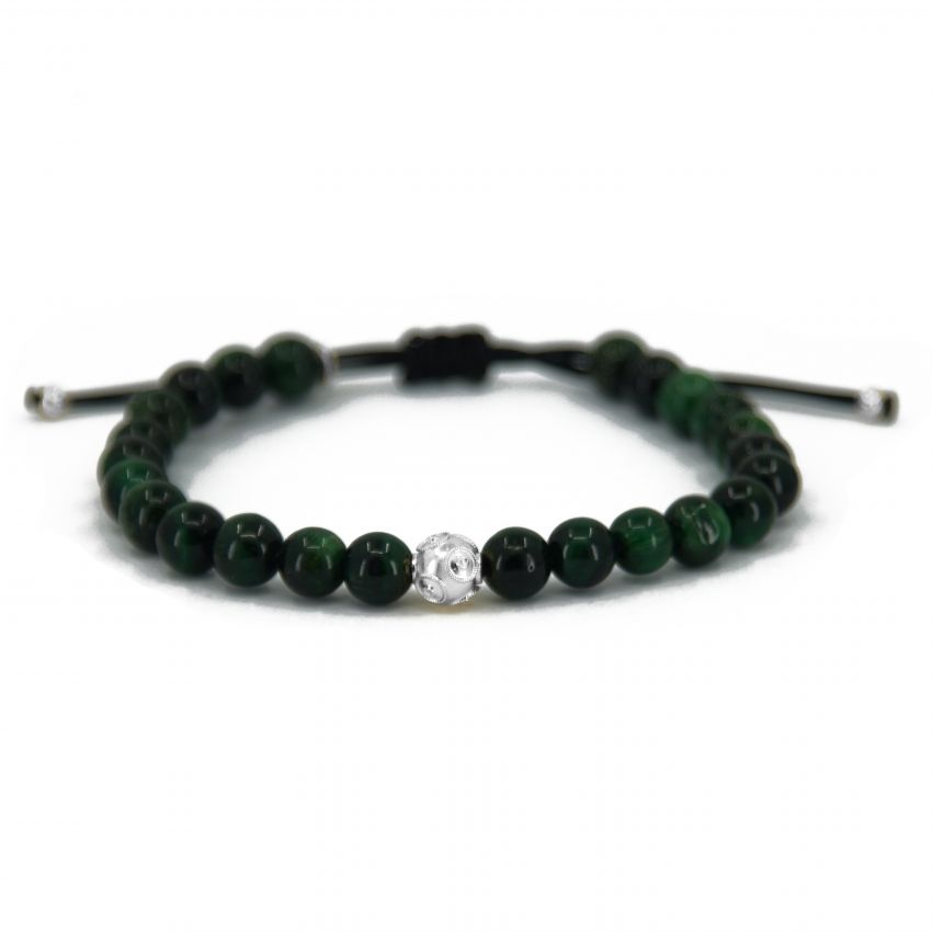 Bracelet Father's Day in Silver and Green Tiger Eye
