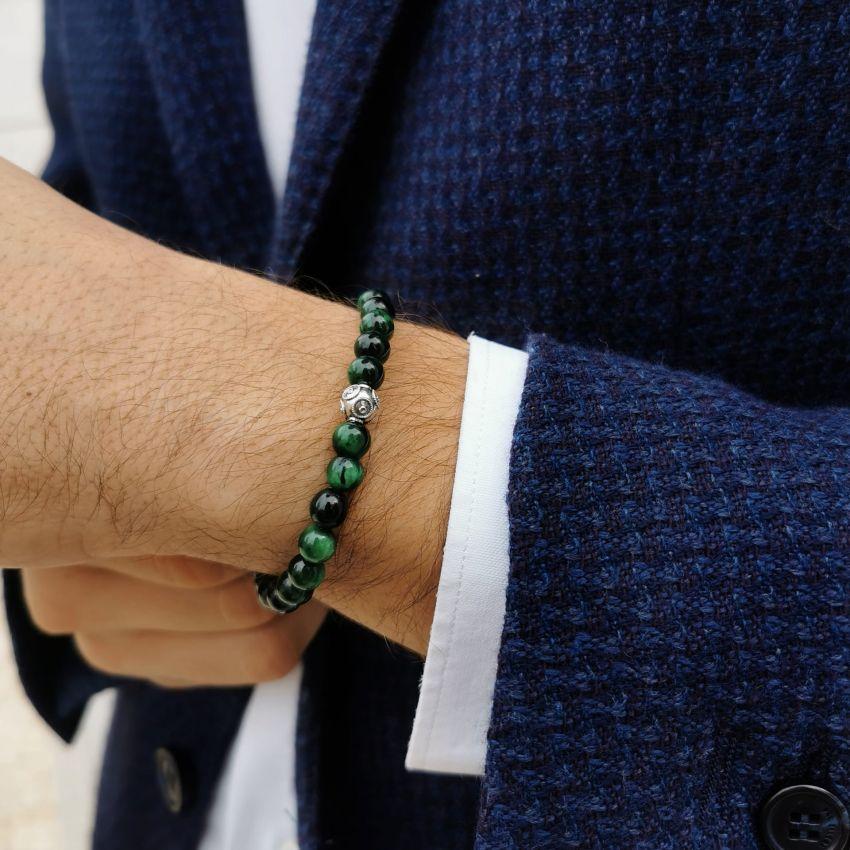 Pulseira Dia do Pai em Prata e Olho de Tigre Verde