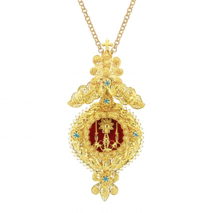 Colar Relicário XL em Prata Dourada